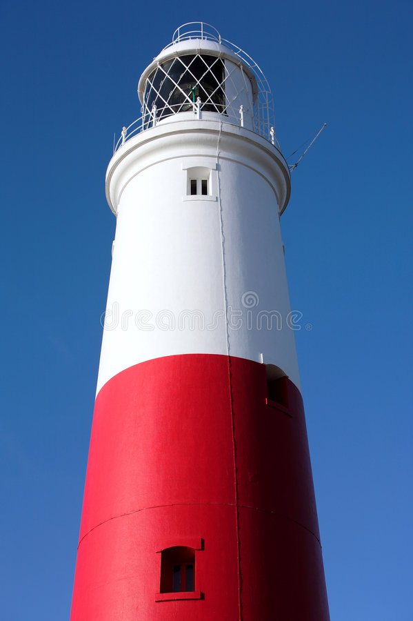 Main red and white lighthouse on Portland near Weymouth in Dorset royalty free stock photos