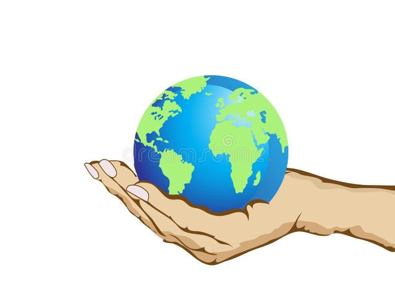 Main retenant la terre illustration libre de droits