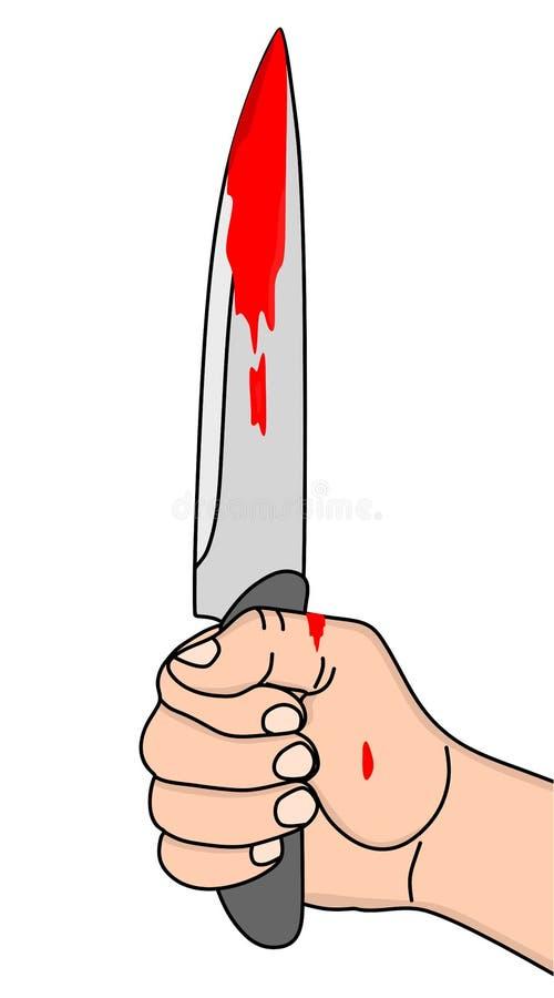 Main retenant le couteau sanglant image libre de droits