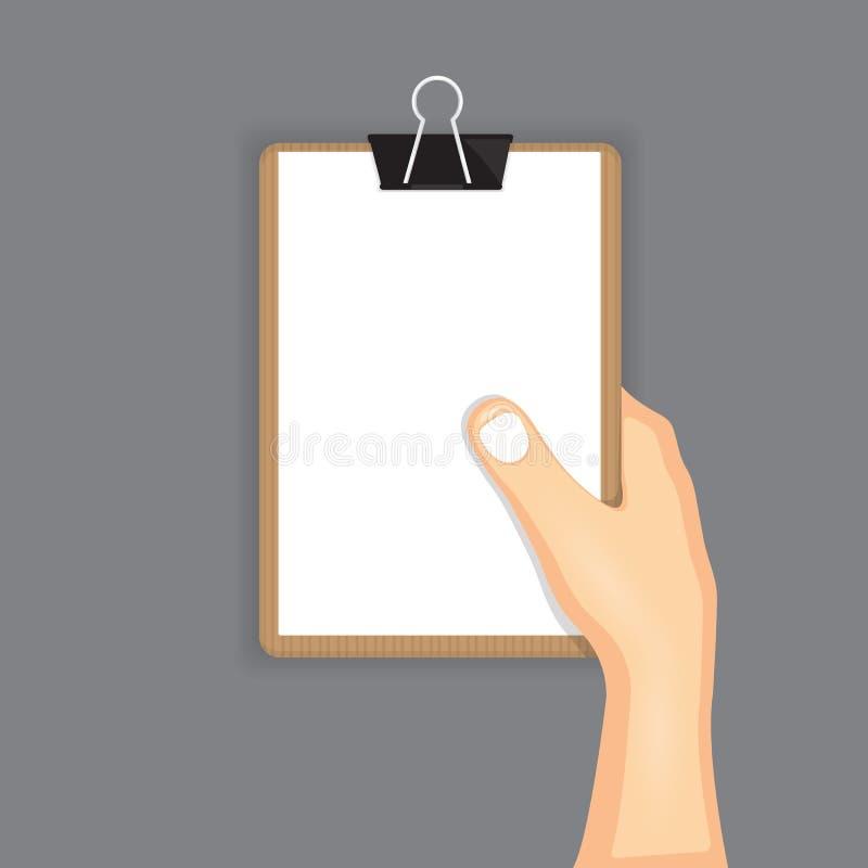 Main retenant le papier illustration de vecteur