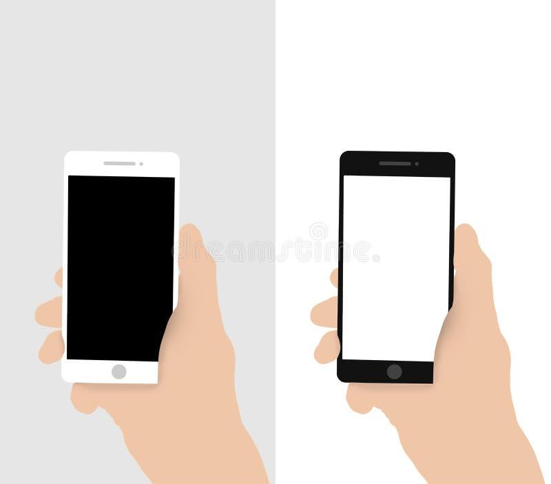 Main retenant le téléphone intelligent mobile avec l'écran blanc illustration libre de droits