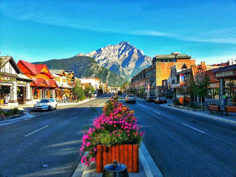 Main Road Banff, Alberta royalty free stock images