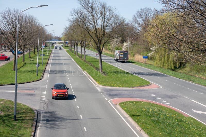 Main road in Lelystad, capital city of Dutch province Flevoland royalty free stock photo