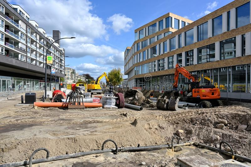The main road near the new county office of Hengelo is under construction stock photos