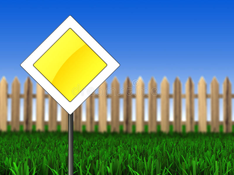 Main road sign. 3d illustration of main road sign over meadow background vector illustration
