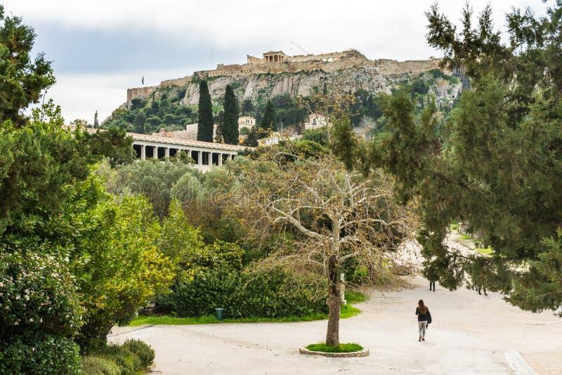 Main Roadway Ancient Agora Stoa Parthenon Acropolis Athens Greece. Main Roadway Ancient Agora Market Place Fields Stoa Attalos Parthenon Acropolis Athens Greece royalty free stock photography
