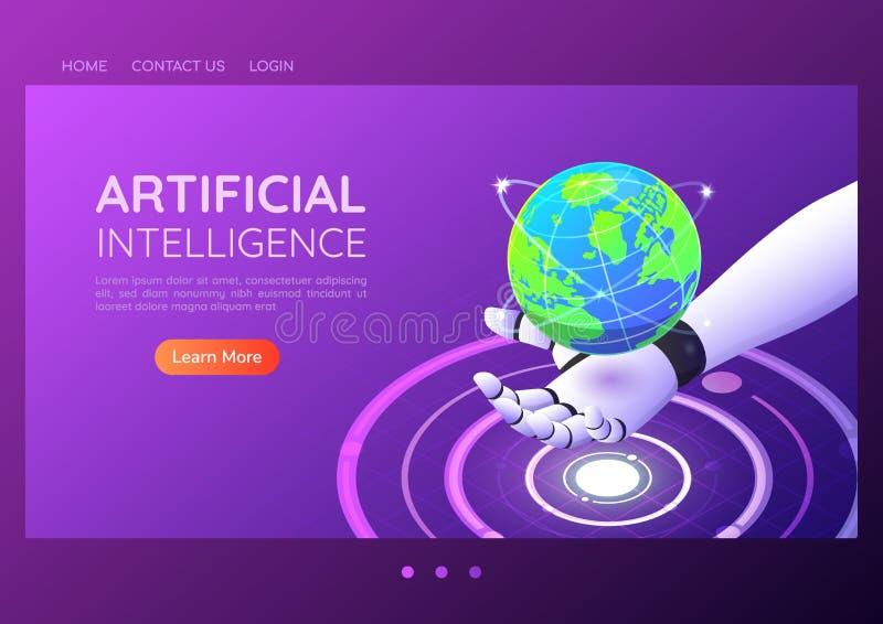 Main robotique isométrique de la bannière AI de Web tenant le monde numérique virtuel illustration libre de droits