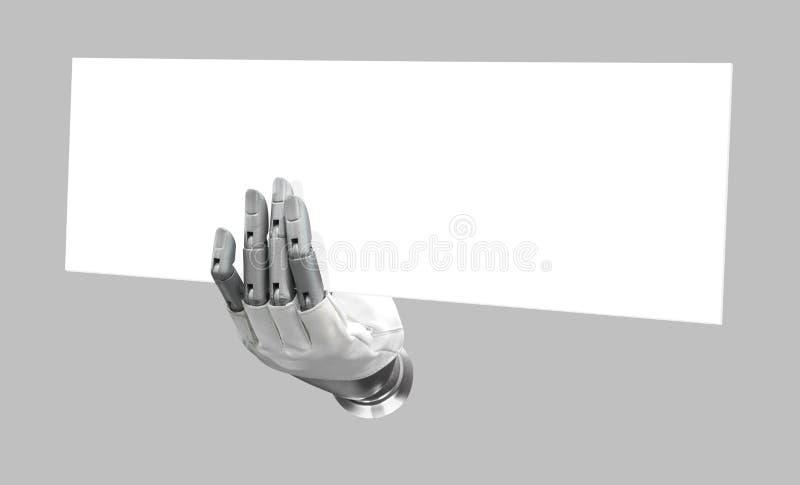 Main robotique tenant le signe vide de mettre votre isolat de mot ou de logo images stock