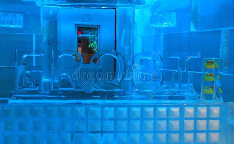 Main room, where everything is made of ice,The Frost Bar, Boston, Mass, 2014 royalty free stock photo
