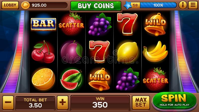 Main screen for slots game stock illustration