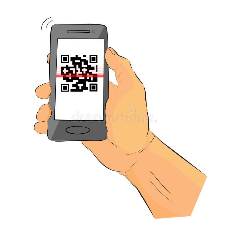 Main simple de croquis tenant Gray Smartphone pour faire un faux de balayage QR, code rapide de r?ponse illustration stock