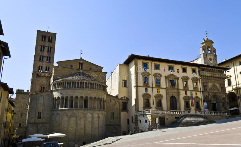 Main Square of Arezzo - Italy. Medieval buildings in Piazza Grande in Arezzo, Italy royalty free stock image