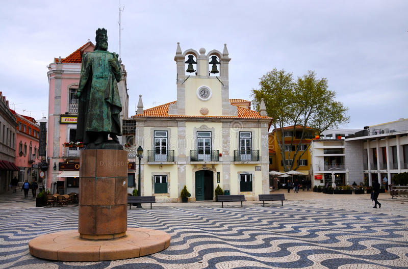 Main square Cascais royalty free stock images