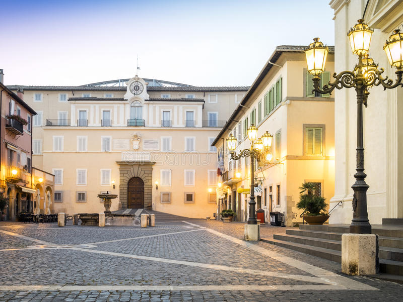 Main square in Castel Gandolfo, pope's summer residency stock photo