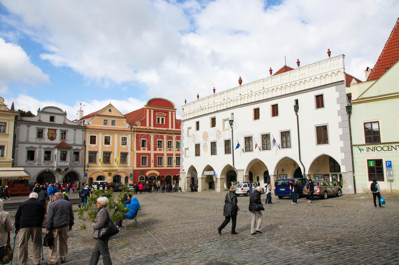 Main square of Cesky Krumlov, Bohemia, Czech Republic royalty free stock photos