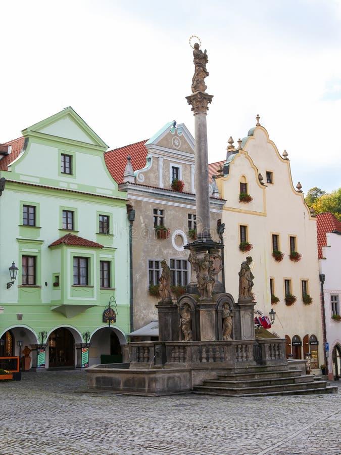 Main square of Cesky Krumlov, Bohemia, Czech Republic stock photos