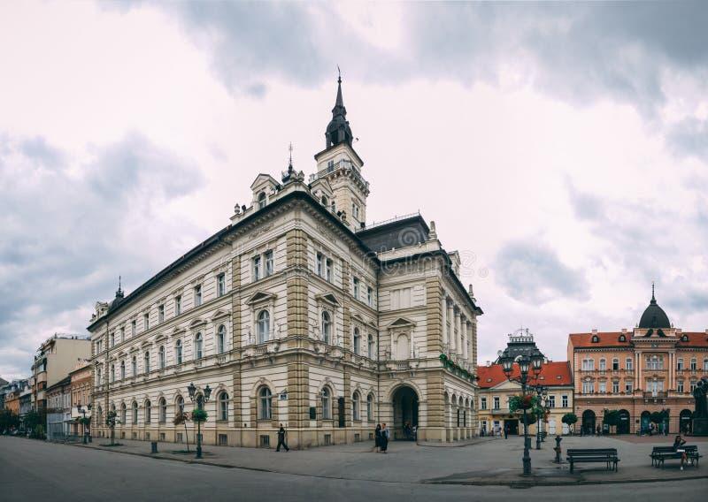 Main square and Church in Novi Sad, Serbia royalty free stock photography
