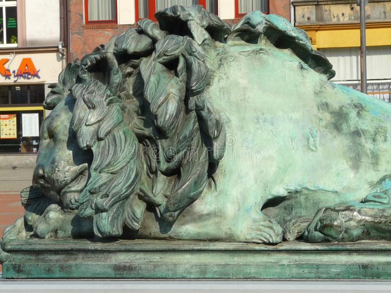 BYTOM , SILESIA , POLAND-Lion the main square in the city center of Bytom stock image