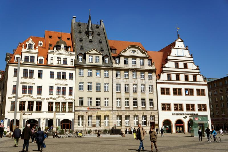 Main square of the city. Spring morning in the city Leipzig, Germany stock photography