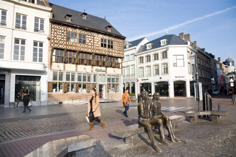 Main Square, Hasselt, Belgium. Hasselt, Belgium - 2015, October 26 : An old historic house in the main square of the town of Hasselt in the Limburg province of stock photography