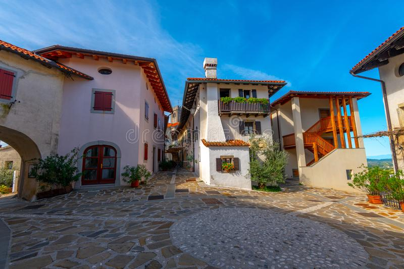Main Square in Historic medieval town of Smartno in Goriska Brda, Slovenia with narrov streets leading into the town. Due strategic position the town is stock photos
