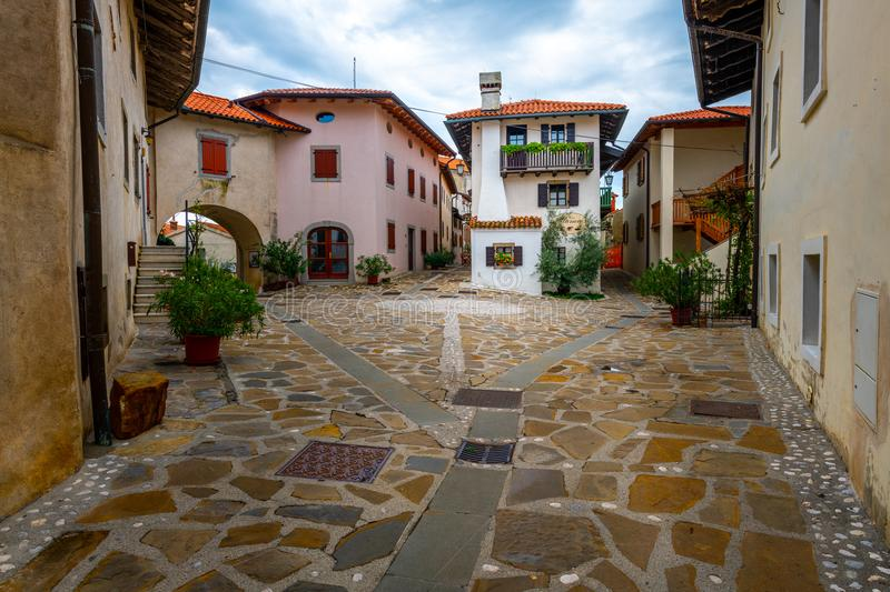 Main Square in Historic medieval town of Smartno in Goriska Brda, Slovenia with narrov streets leading into the town. Due strategic position the town is stock photography