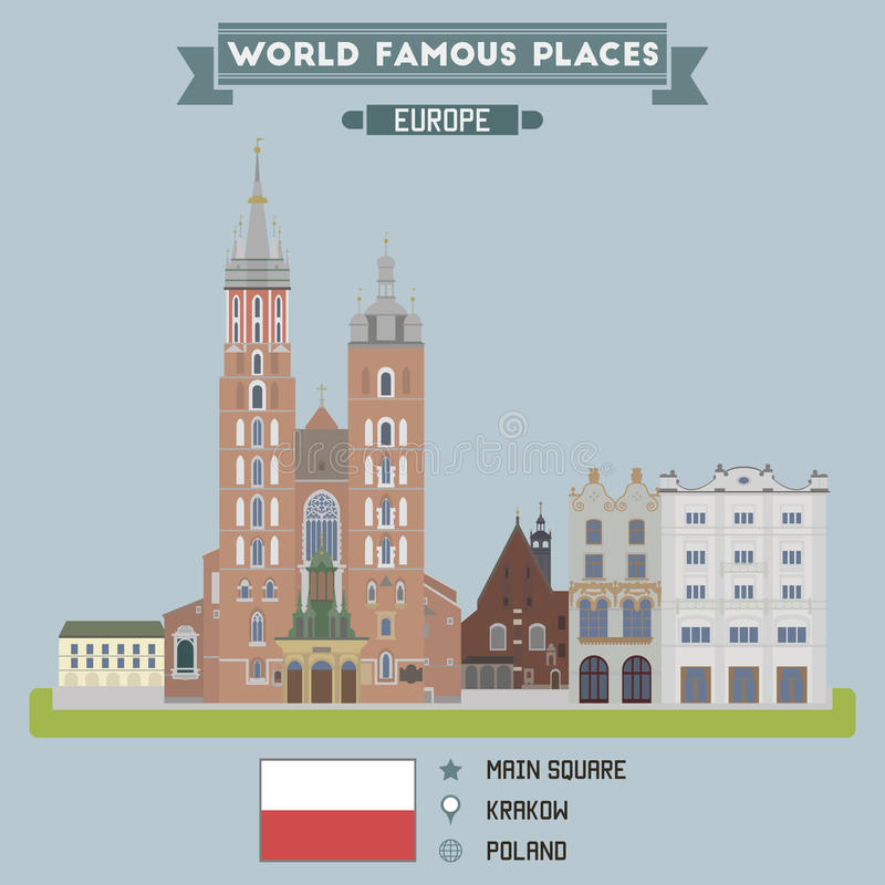 Main Square. Krakow, Poland. For you design royalty free illustration