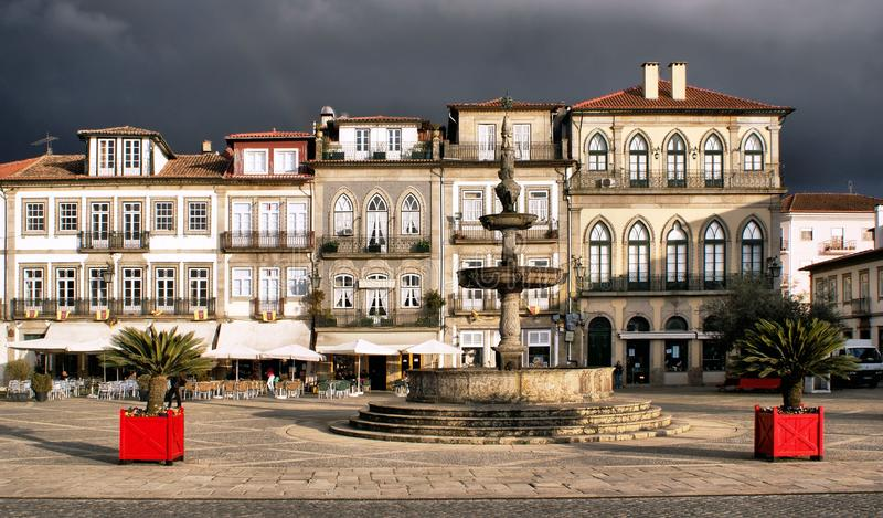 Main square Largo de Camoes royalty free stock images