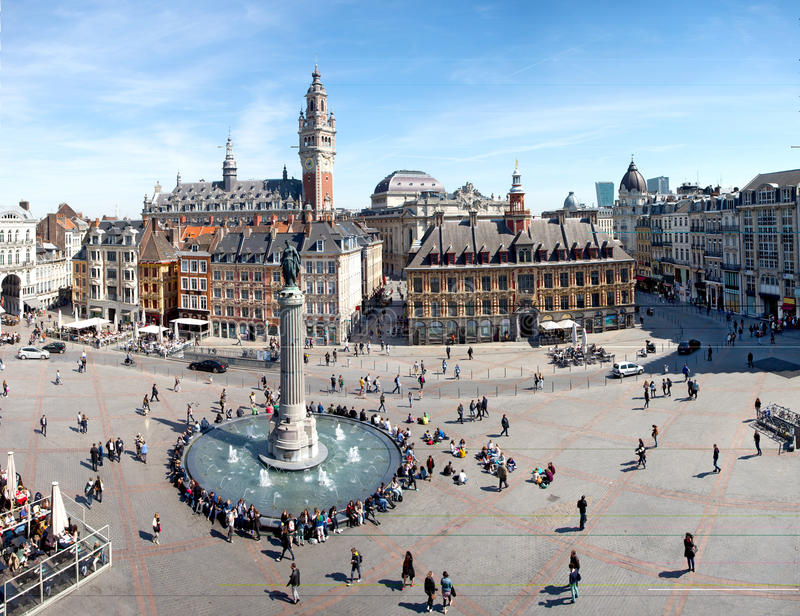 Main square of Lille, France. View of the Main square of Lille, France stock photo