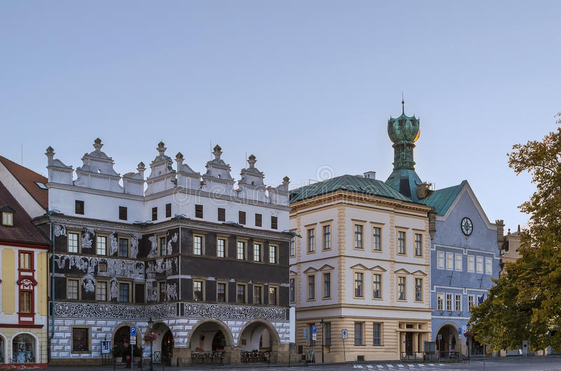 Main square in Litomerice, Czech republic. Historic houses with town hall on main square in Litomerice, Czech republic royalty free stock photo