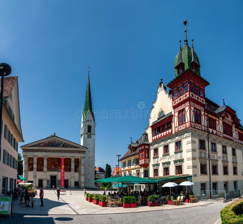 Summer Impressions of Dornbirn, Austria. Main Square of the little City Dornbirn in Vorarlberg, Austria royalty free stock photos