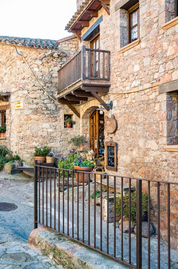 Main square in the medieval village of Mura, Catalonia, Spain. Main square in the medieval village of Mura, Catalonia, Spain royalty free stock photo