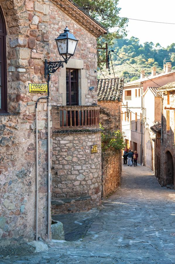 Main square in the medieval village of Mura, Catalonia, Spain. Main square in the medieval village of Mura, Catalonia, Spain stock photo