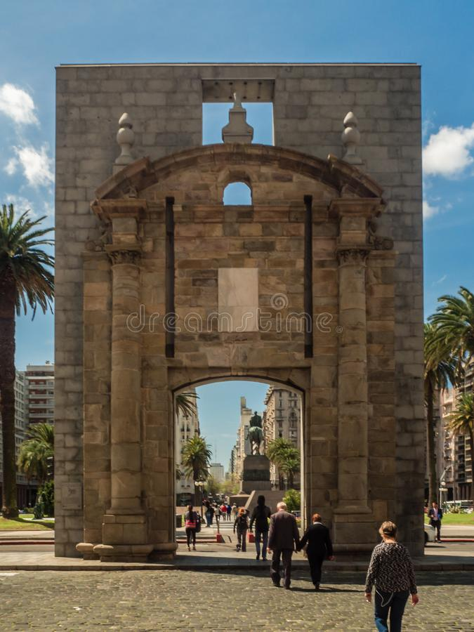 Main square in Montevideo, Independence Square, Except palace, gate of the citadel. royalty free stock photo