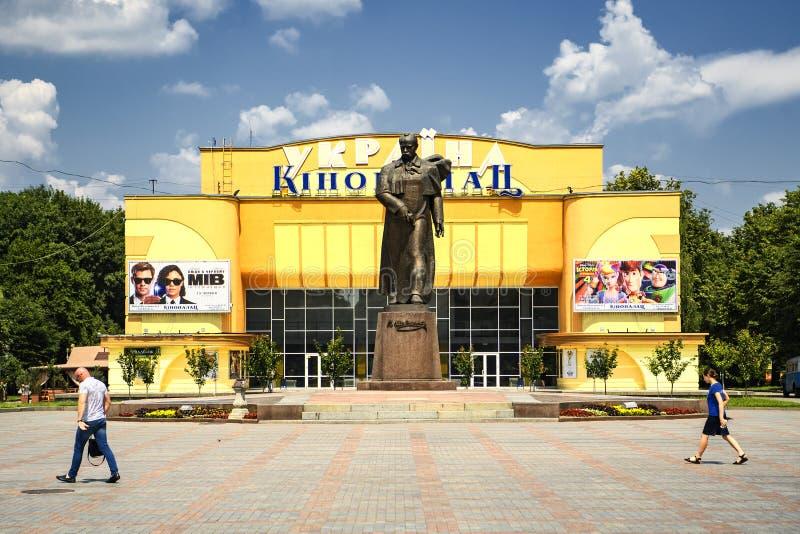 Main square with monument to Taras Shevchenko and cinema theater in Rivne, Ukraine. June 2019. Main square with monument to Taras Shevchenko and cinema theater royalty free stock image