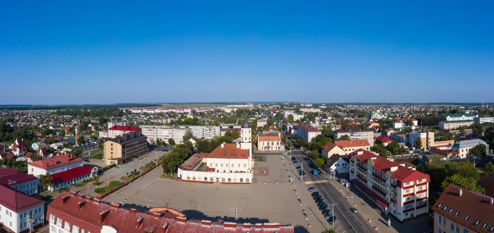 The main square in Nesvizh. Niasvizh Town Hall - a memorial of architecture of the 16th century in Belarus. royalty free stock photos