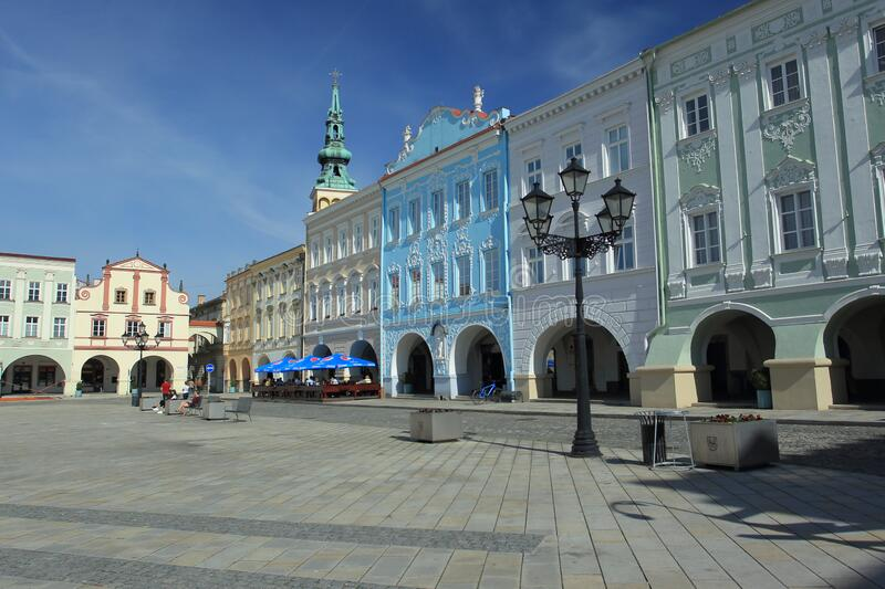 Main square in Novy Jicin stock images