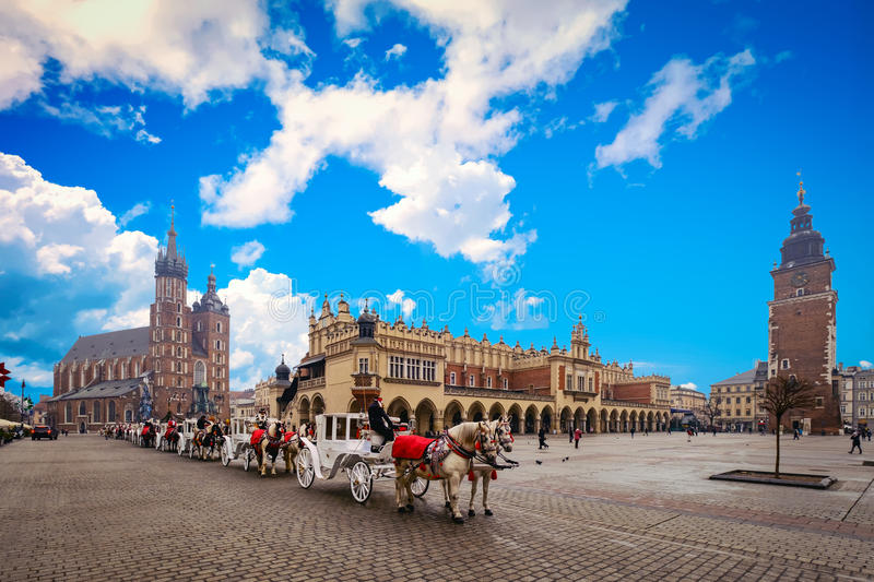 Main square in old city of Krakow royalty free stock photo
