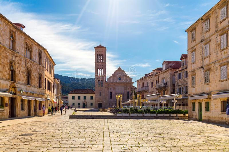 Main square in old medieval town Hvar. Hvar is one of most popular tourist destinations in Croatia in summer. Central Pjaca square. Of Hvar town, Dalmatia royalty free stock photo