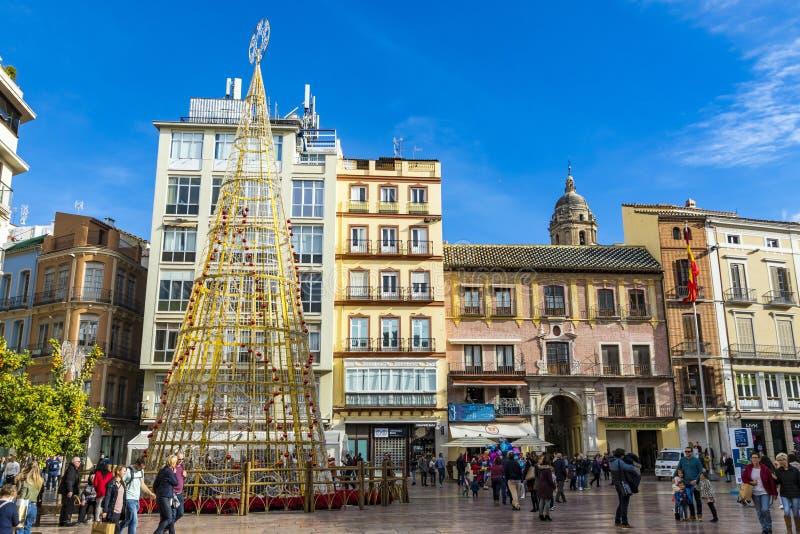 Main Square Plaza de la Constitution em Málaga, Espanha imagem de stock