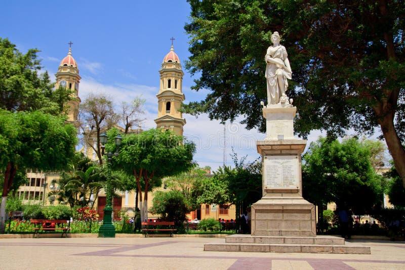 Main square plaza in Piura, Peru. Main square plaza with Grau memorial in Piura, Peru stock photos