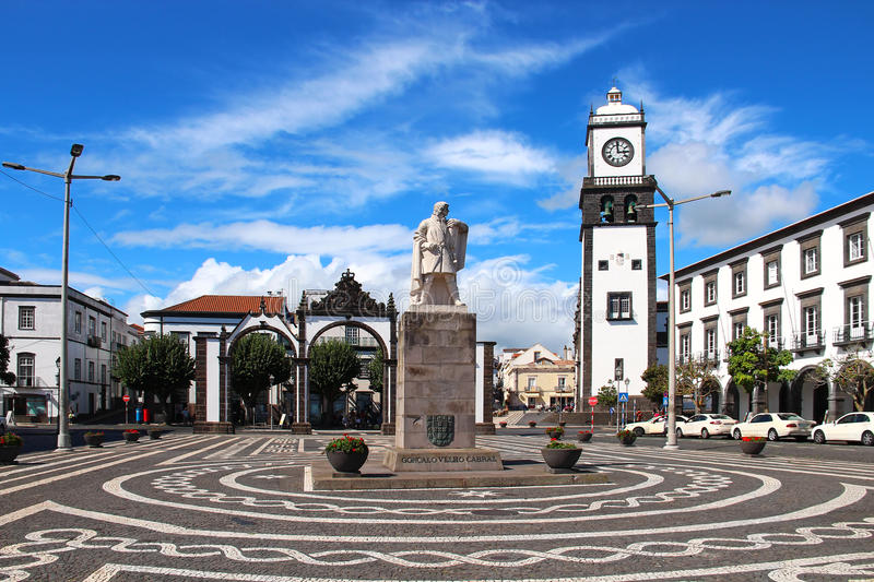 Main square of Ponta Delgada, Sao Miguel island, Azores, Portugal royalty free stock image