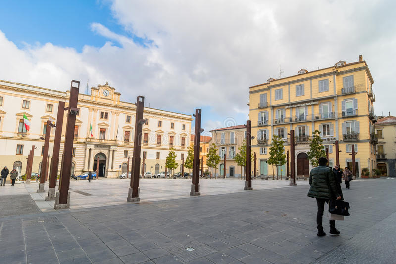 Main square in Potenza, Italy. POTENZA, ITALY - MARCH 13, 2015: day view of Mario Pagano square with local people in Potenza, Italy. Potenza is the highest stock photo