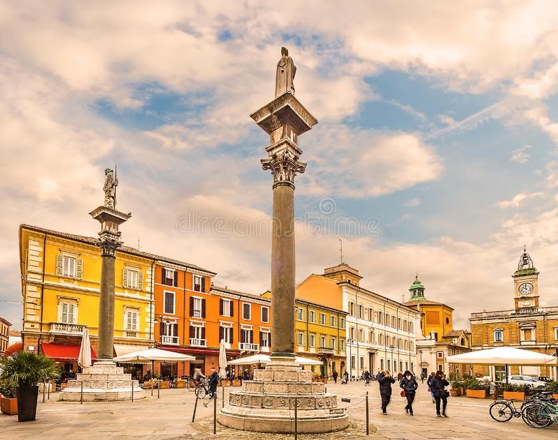 Main square in Ravenna in Italy. The main square in Ravenna in Italy royalty free stock image