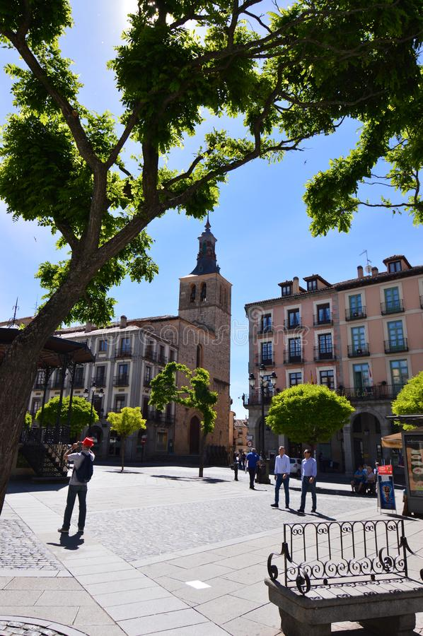 Main Square Of Segovia With Musical Stage In It. Architecture History Travel. June 18, 2018. Segovia Castilla-Leon Spain stock photography