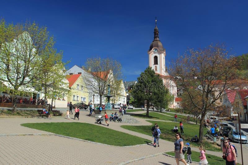 Main square in Stramberk stock photo