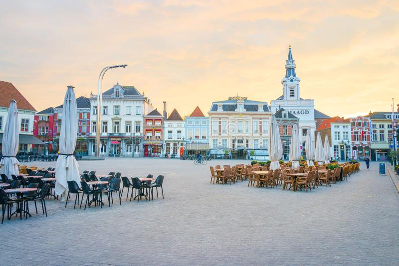 Main square during sunset Bergen op Zoom. Main square  with restaurants during sunset Bergen op Zoom, the Netherlands royalty free stock photos