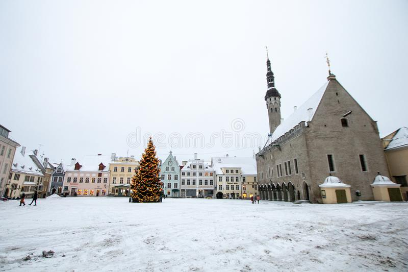 Main square of tallin with snow during Christmas. tourism in estonia stock photo