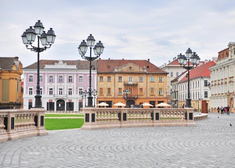 Main square of Timisoara old town, Romania. TIMISOARA, ROMANIA - MAY 2: View of the historical centre of Timisoara city on May 2, 2016.Timisoara is one of the royalty free stock photo