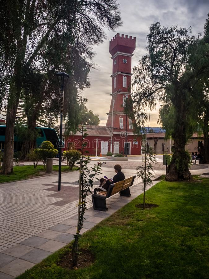 Main square of Vicuña, with the tower of the town hall. stock photo